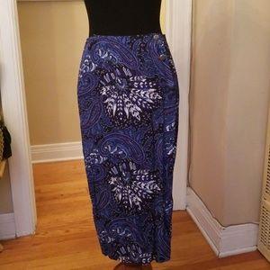 VTG Blue & White Mandala Wrap Midi Skirt!